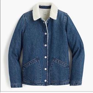 Denim sherpa swing jacket